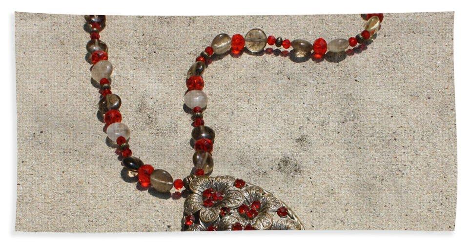 Ooak Beach Towel featuring the jewelry Vintage Ruby Rhinestone Flower Brooch Pendant Necklace 3633 by Teresa Mucha
