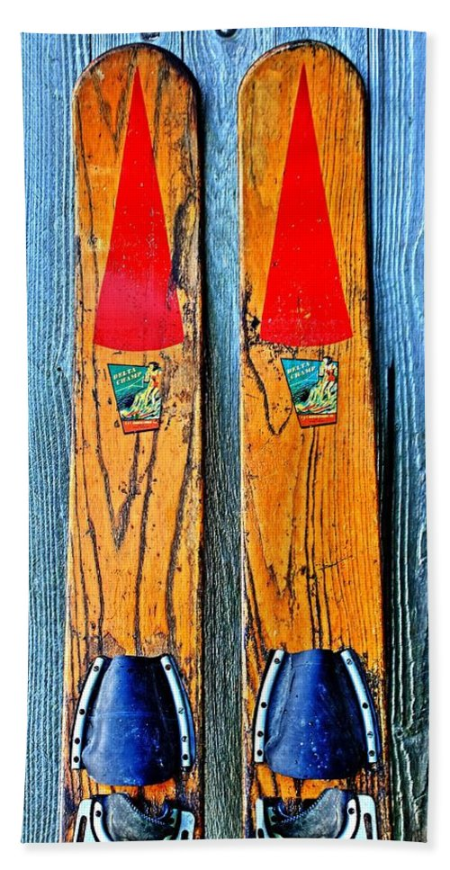 Skis Beach Towel featuring the photograph Vintage Skis by Benjamin Yeager