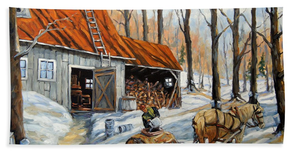 Landscape Beach Towel featuring the painting Vintage Sugar Shack by Prankearts by Richard T Pranke
