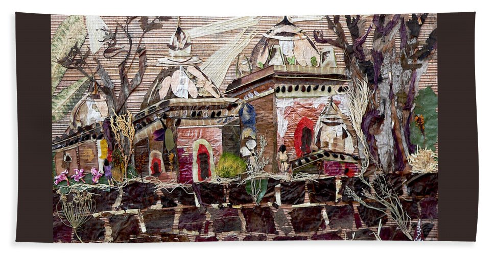 Vintage-temples Beach Towel featuring the mixed media Vintage -temples by Basant Soni