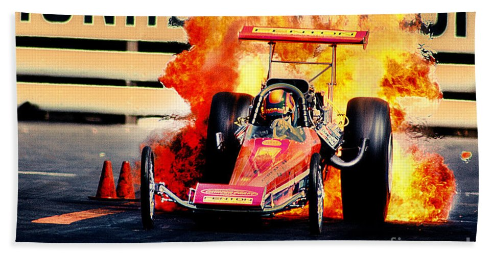 Fire Beach Towel featuring the photograph Vintage Top Fuel Dragster Fire Burnout-wild Bill Carter by Howard Koby