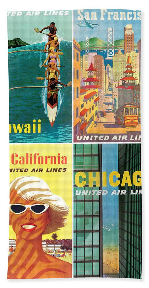 United Airlines Beach Towel featuring the digital art Vintage Travel - United Airlines by Georgia Fowler