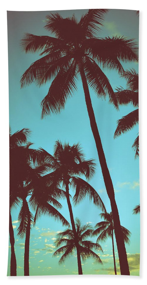 Aged Beach Towel featuring the photograph Vintage Tropical Palms by Mr Doomits