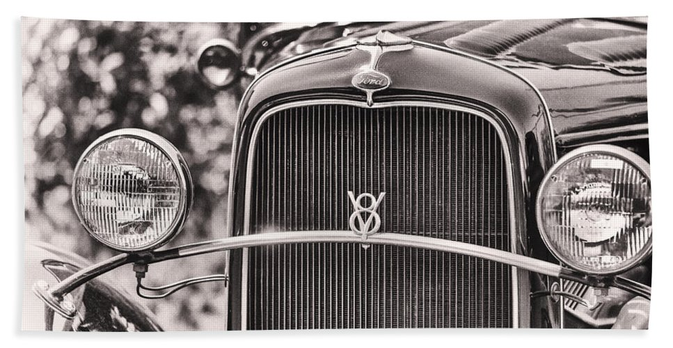 Ford Beach Towel featuring the photograph Vintage V8 by Caitlyn Grasso