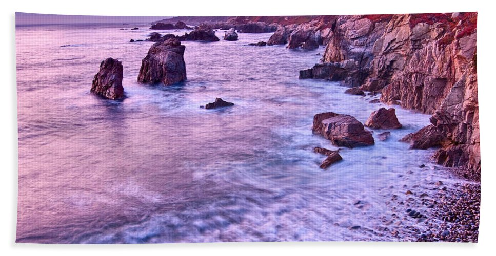 Soberanes Point Beach Towel featuring the photograph Violet Tides - Rocky Coast From Soberanes Point In Garrapata State by Jamie Pham