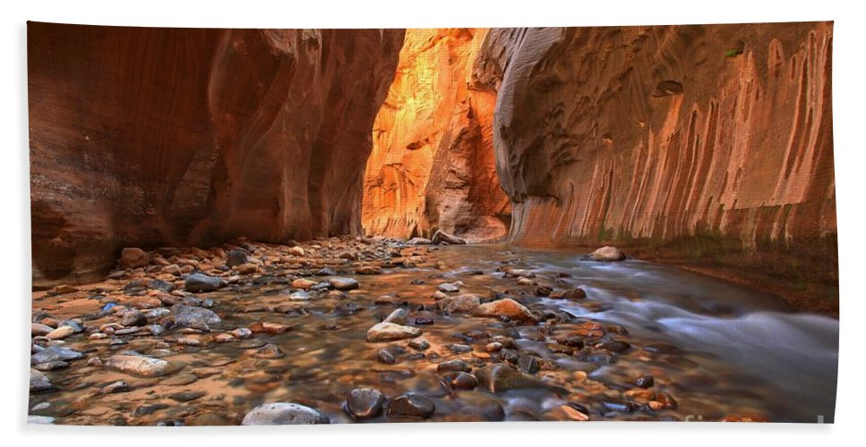 Zion Narrows Beach Towel featuring the photograph Virgin River Rocks by Adam Jewell