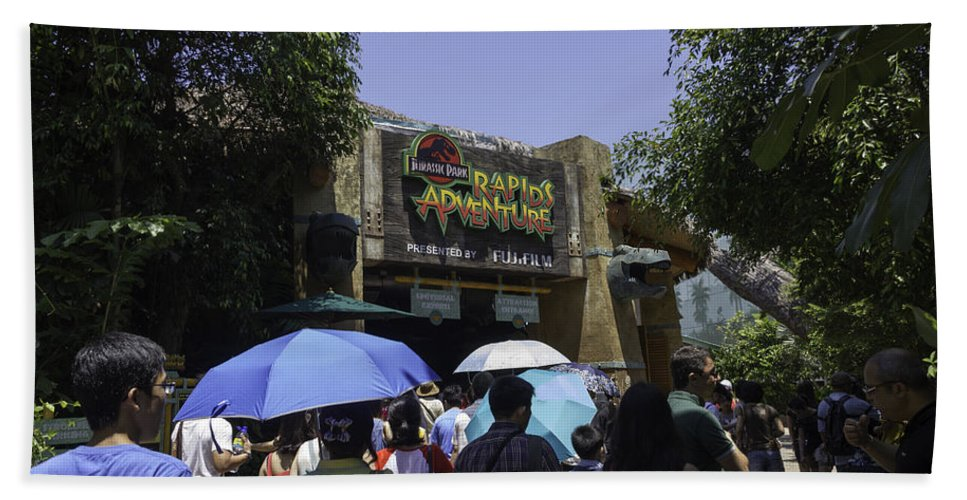 Asia Beach Towel featuring the photograph Visitors Thronging The Jurassic Park Rapids Adventure Ride by Ashish Agarwal