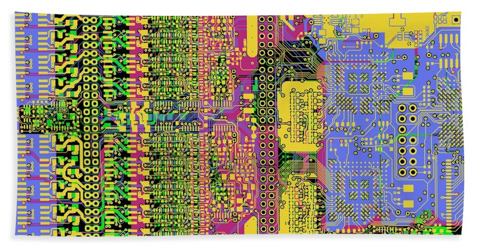 Circuit Beach Towel featuring the digital art Vo96 Circuit 4 by Paul Vo