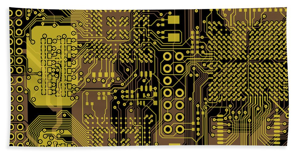 Circuit Beach Towel featuring the digital art Vo96 Circuit 5 by Paul Vo