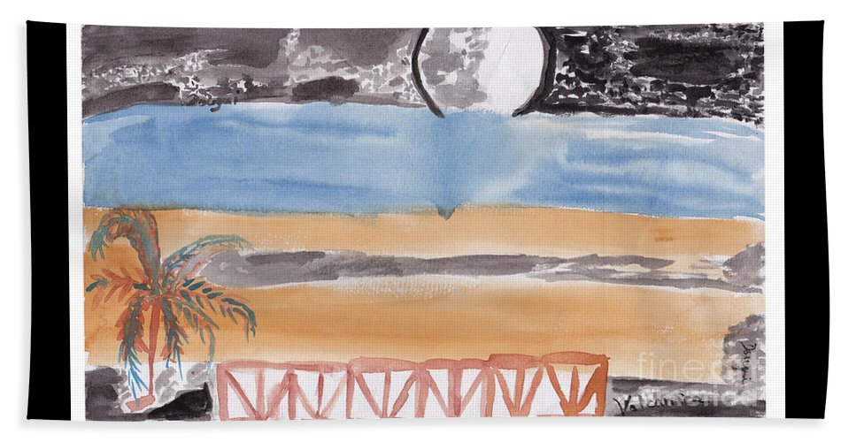 A Terrace That Looks Out Onto A Moonlit Night. Beach Towel featuring the painting Volcanica by Douglas Friedman