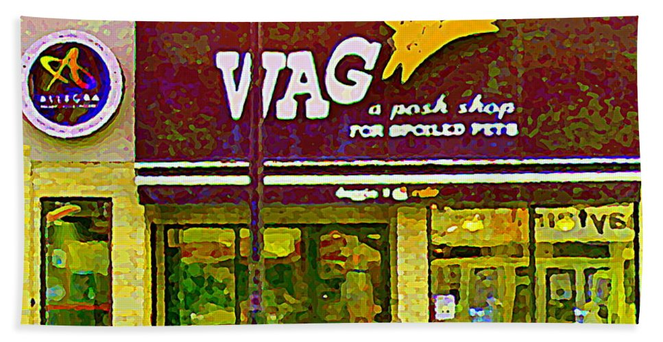 Ottawa Beach Towel featuring the painting Wag A Posh Pet Store Cafe For Spoiled Pets The Glebe Paintings Of Old Ottawa South Carole Spandau by Carole Spandau
