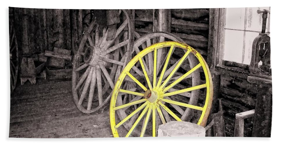 Yellow Beach Towel featuring the photograph Wagon Wheels by Sharon Woerner