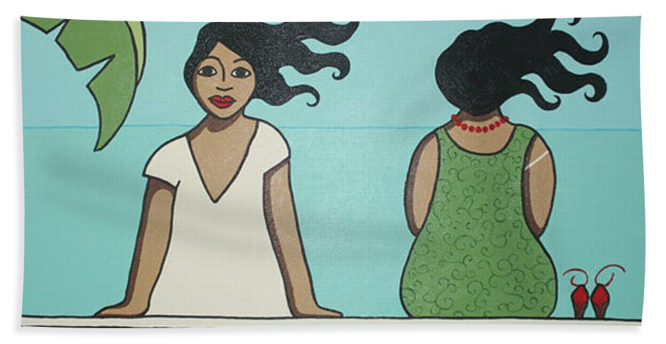 Women Beach Towel featuring the painting Waiting 2 by Trudie Canwood