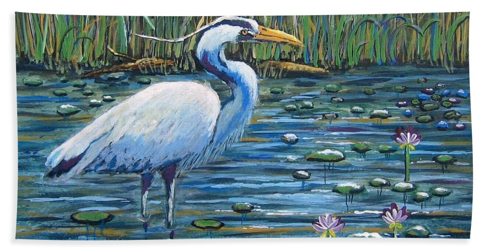Great Blue Heron Beach Towel featuring the painting Waiting For Lunch by Suzanne Theis