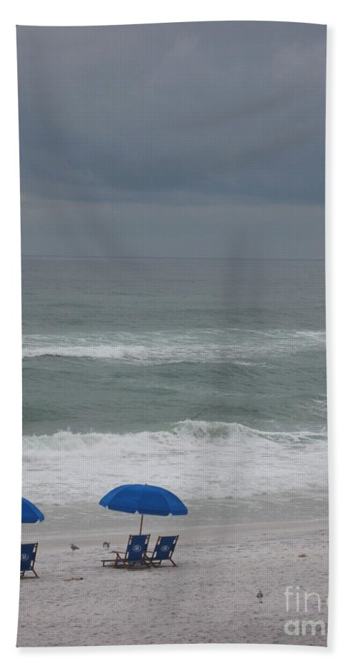 Sun Chairs Beach Towel featuring the photograph Waiting For Sunshine by Christiane Schulze Art And Photography