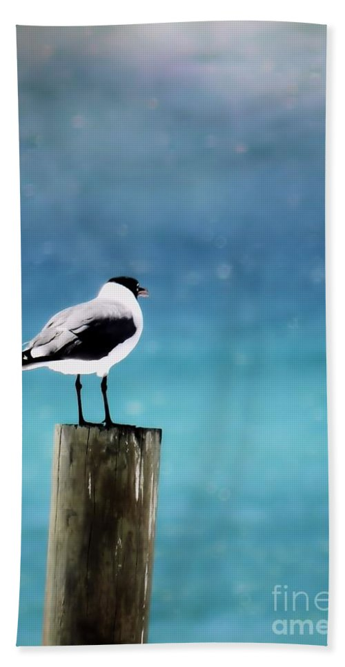 Seagull Beach Towel featuring the photograph Waiting For The Fishing Boats by Sharon Woerner
