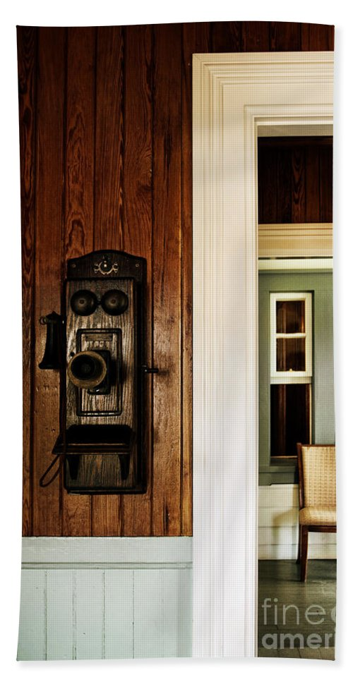 Vintage; Old; House; Home; Interior; Inside; Indoors; Still Life; Telephone; Phone; Wall; Paneling; Painted; Trim; Door Jam; Windows; Chair; Hall; Hallway; Furniture Beach Towel featuring the photograph Waiting On A Call by Margie Hurwich