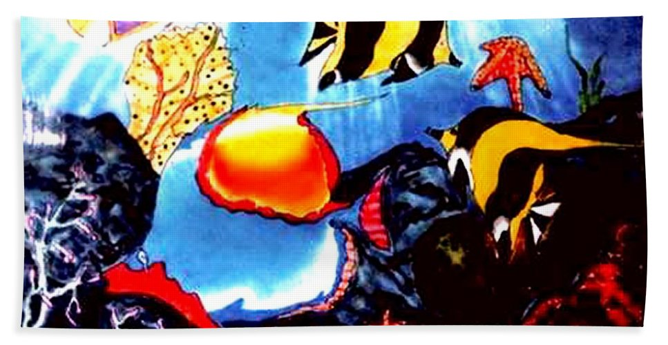 Tropical Fish Beach Towel featuring the painting Waking Up In Oil by Neal Barbosa