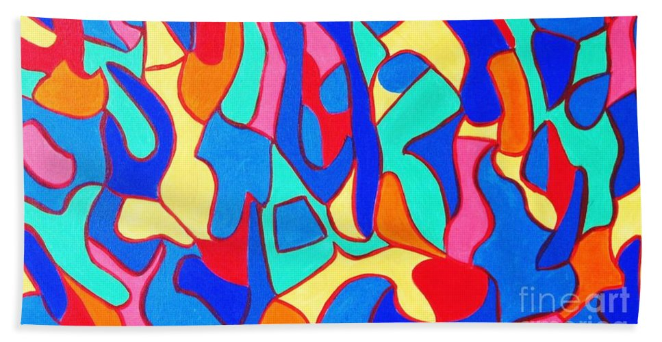 Eunice Broderick Beach Towel featuring the painting Walk In Israel by Eunice Broderick