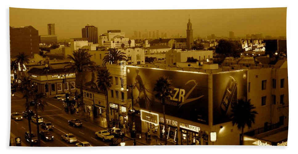 Hollywood Prints Beach Towel featuring the photograph Walk Of Fame Hollywood In Sepia by Monique's Fine Art