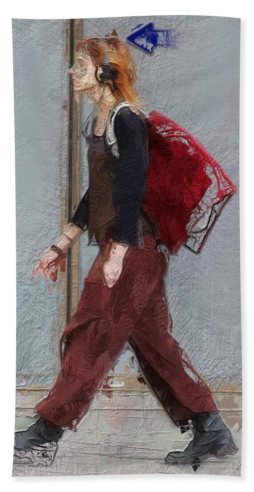 Girl Walk Walking Way Portrait Expressionism Young Beach Towel featuring the painting Walk This Way by Steve K
