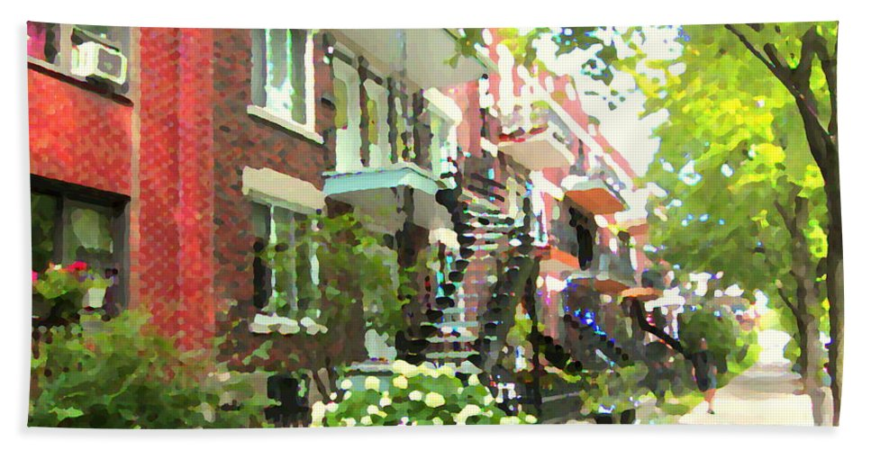 Montreal Beach Towel featuring the painting Walking Verdun In Summer Winding Staircases And Pathways Urban Montreal City Scenes Carole Spandau by Carole Spandau