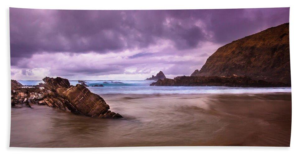 Sea Beach Towel featuring the photograph Wall Of Rocks by Edgar Laureano