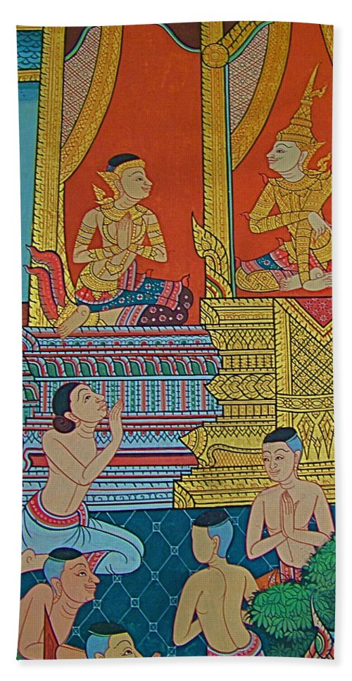 Wall Painting 2 In Wat Po In Bangkok Beach Towel featuring the photograph Wall Painting 2 In Wat Po In Bangkok-thailand by Ruth Hager