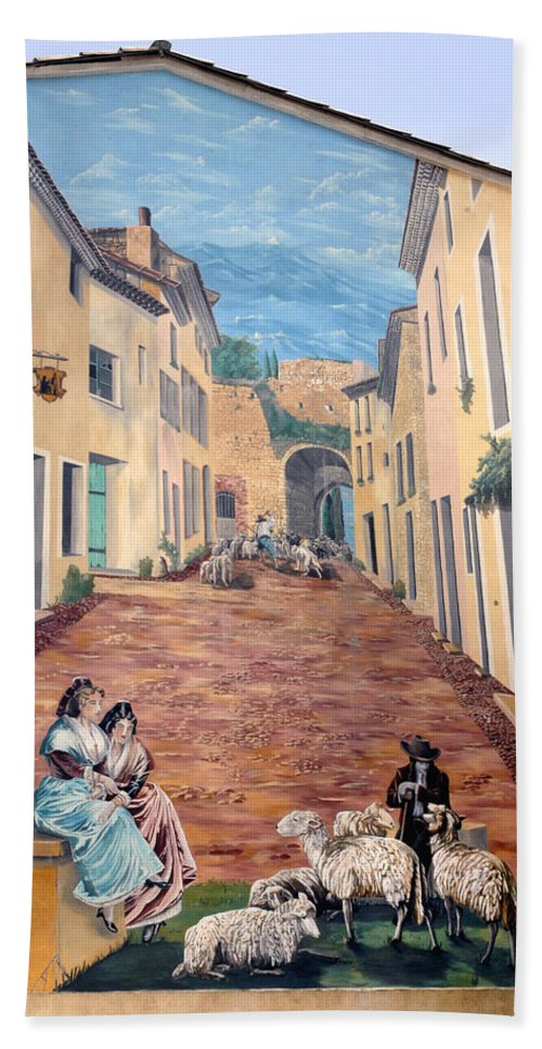 Wall Painting Beach Towel featuring the photograph Wall Painting In Provence by Dave Mills