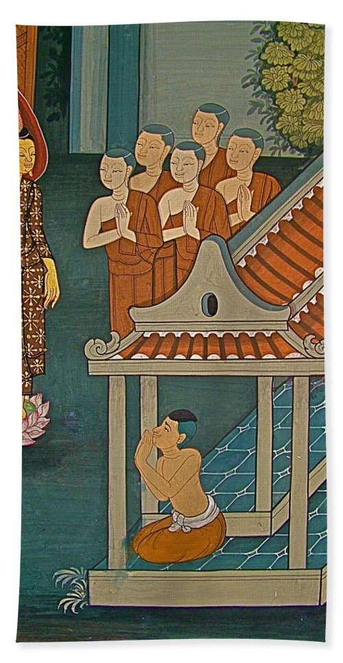 Wall Painting In Wat Po In Bangkok Beach Towel featuring the photograph Wall Painting In Wat Po In Bangkok-thailand by Ruth Hager