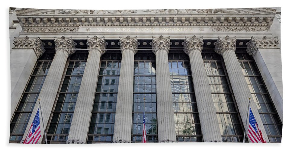 New York Stock Exchange Beach Towel featuring the photograph Wall Street New York Stock Exchange Nyse by Susan Candelario