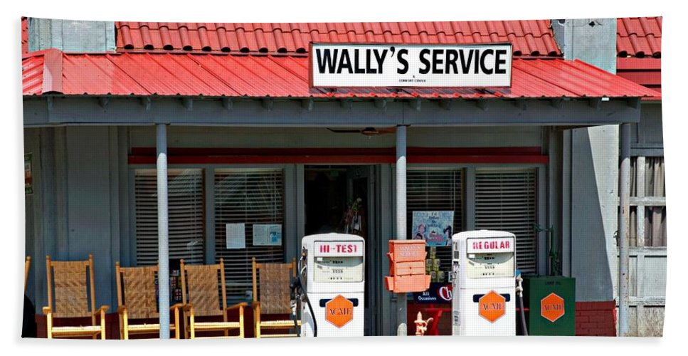 Wally's Service Station Beach Towel featuring the photograph Wally's Service Station Mayberry Nc by Bob Pardue
