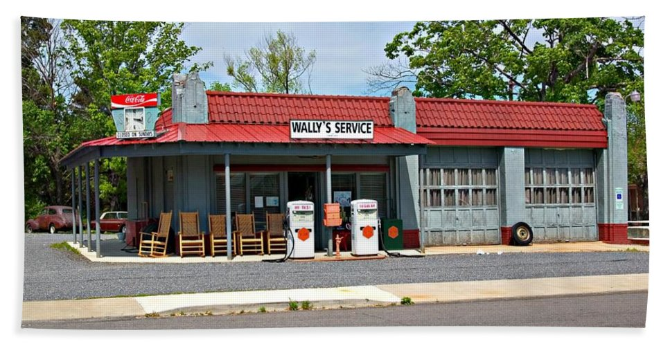 Wallys Service Station Beach Towel featuring the photograph Wallys Service Station Mt. Airy Nc by Bob Pardue
