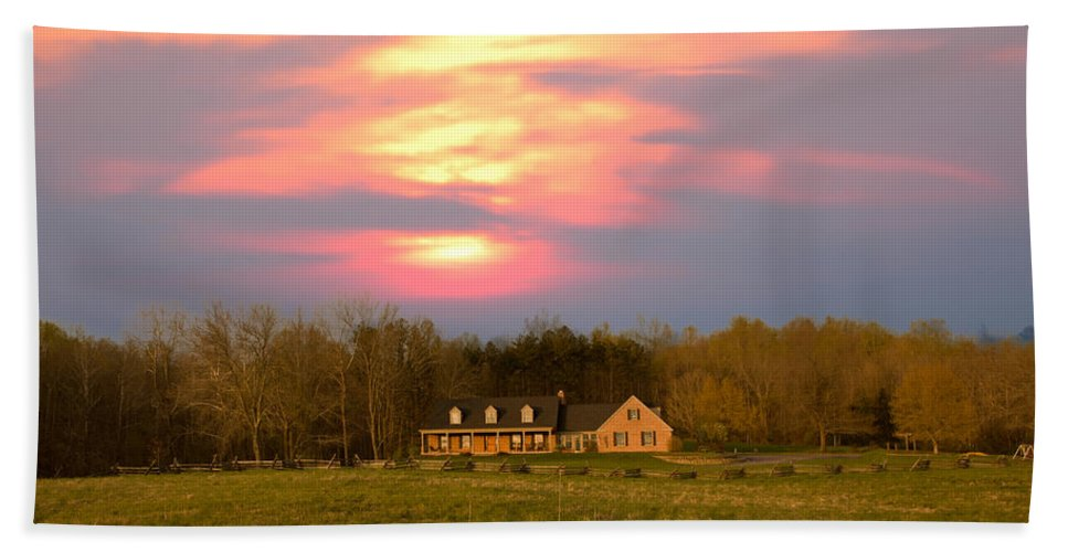 Sunset And Spring Beach Towel featuring the photograph Warm Spring Sunset by Randall Branham