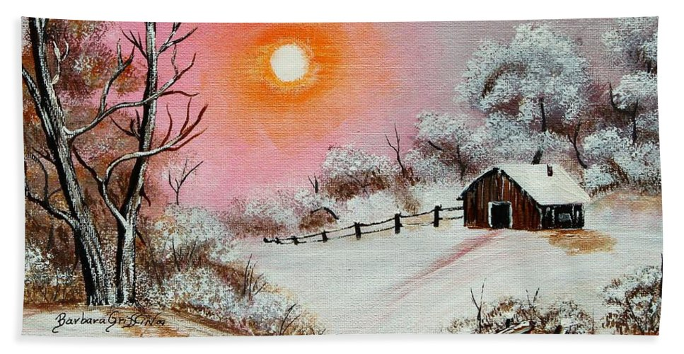 Warm Winter Day Beach Towel featuring the painting Warm Winter Day After Bob Ross by Barbara Griffin