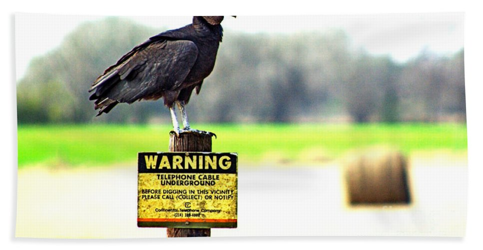 Warning Beach Towel featuring the photograph Warning by Gary Richards