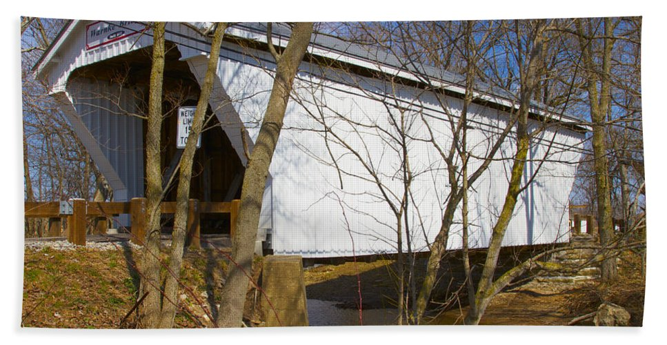Ohio Beach Towel featuring the photograph Warnke Covered Bridge by Jack R Perry