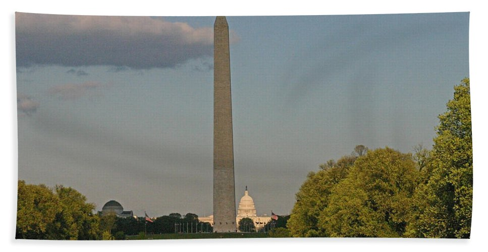 Washington D.c. Beach Towel featuring the photograph Washington Monument And Capitol Building-2 by Hugh Carino