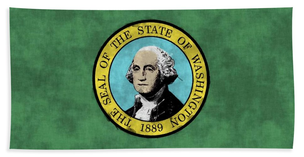 Washington Beach Towel featuring the digital art Washington State Flag by World Art Prints And Designs
