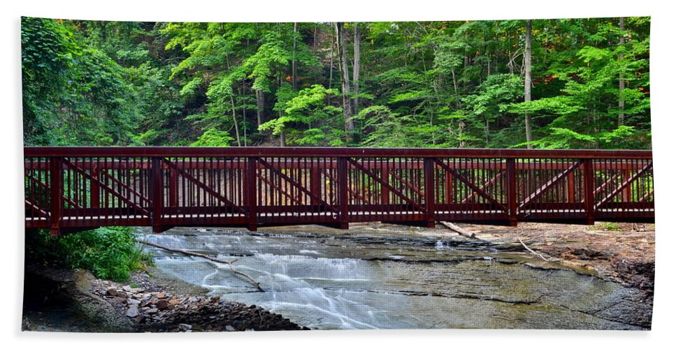 Bridge Beach Towel featuring the photograph Water Cascade by Frozen in Time Fine Art Photography