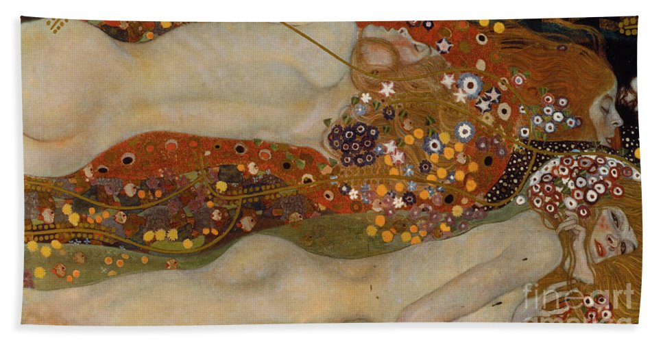 Gustav Klimt Beach Towel featuring the painting Water Serpents II by Gustav Klimt