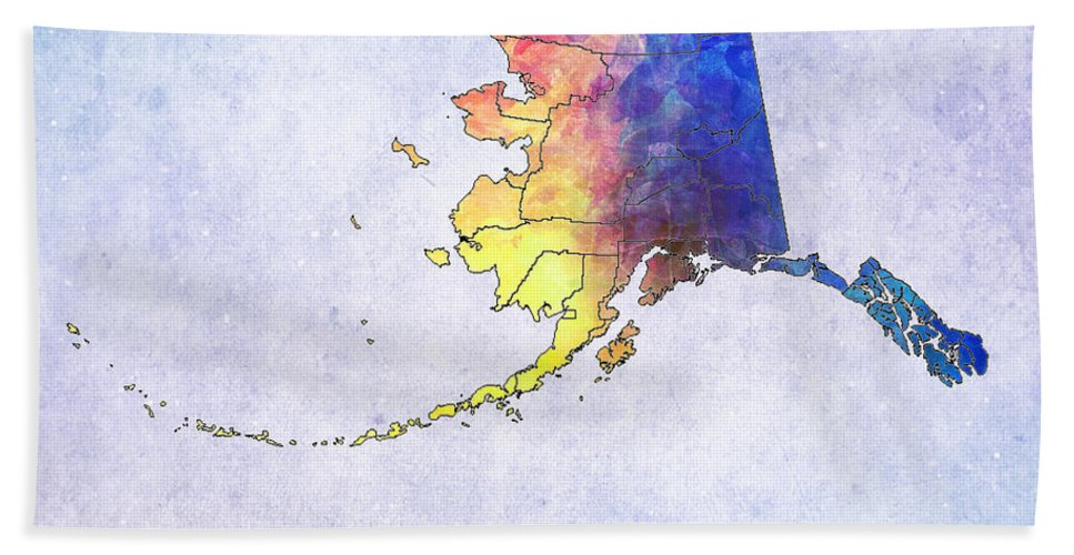 United States Map Beach Towel featuring the digital art Watercolor Map Of Alaska   United States by Justyna JBJart