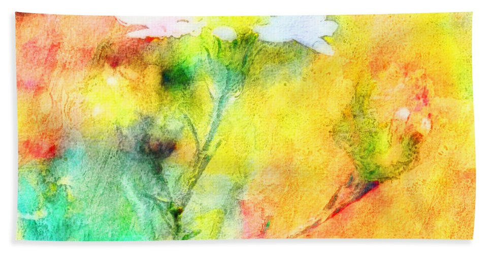 Tiny Beach Towel featuring the photograph Watercolor Wildflowers - Digital Paint by Debbie Portwood