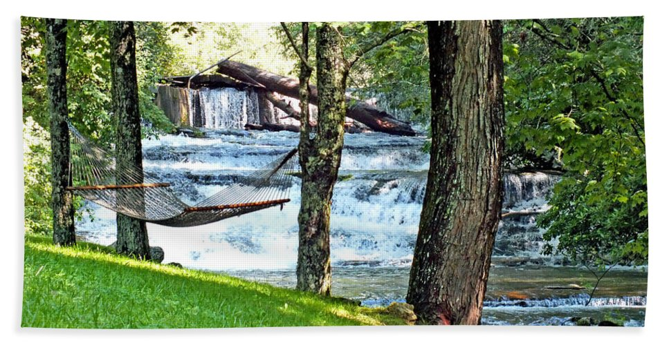 Duane Mccullough Beach Towel featuring the photograph Waterfall And Hammock In Summer 3 by Duane McCullough