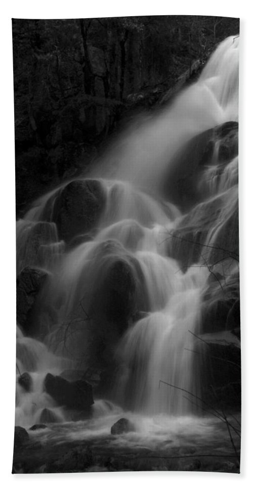 Waterfall Beach Towel featuring the photograph Waterfall In Black And White by Bill Gallagher