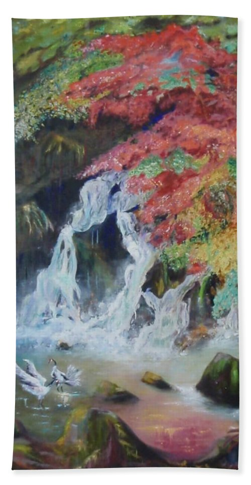 Water Beach Towel featuring the painting Japanese Waterfall by Jeff Troeltzsch