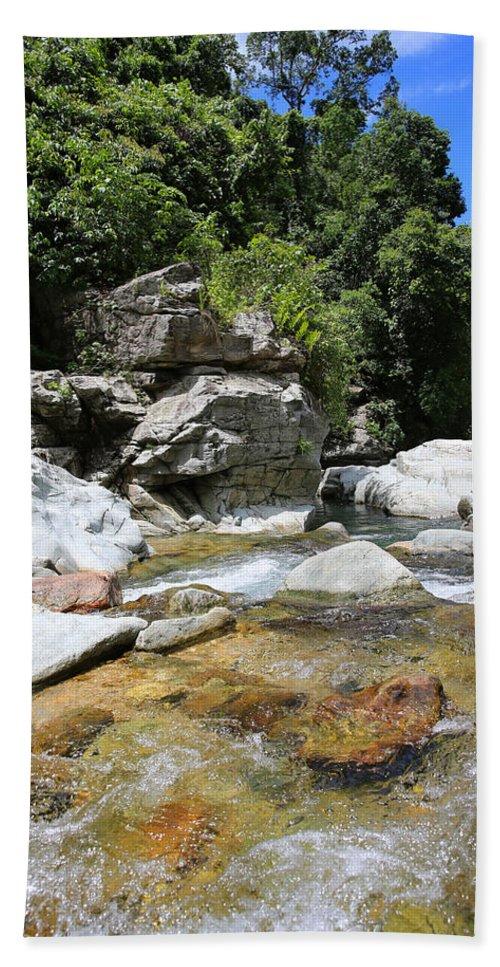 Waterfall Beach Towel featuring the photograph Waterfall by Paul Ranky