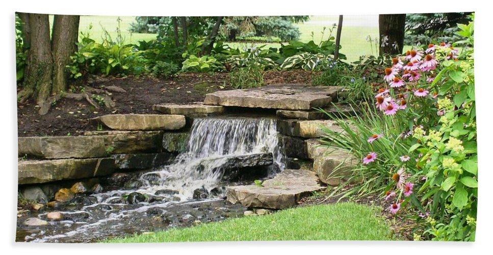 Water Beach Towel featuring the photograph Waterfall With Coneflowers by Laurie Eve Loftin