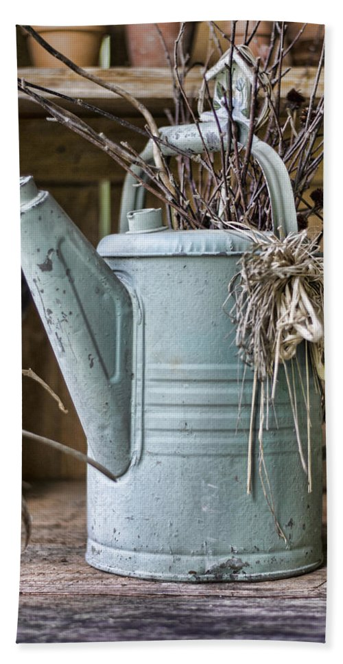 Gardener Beach Towel featuring the photograph Watering Can Pot by Heather Applegate