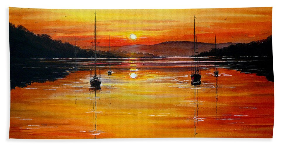 Yachts Beach Towel featuring the painting Watery Sunset At Bala Lake by Andrew Read